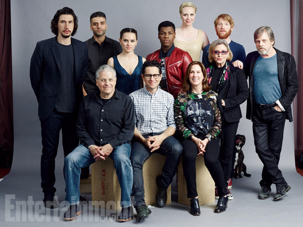 Adam Driver is the tall one on the far left. Mark Hamill is on the far right.